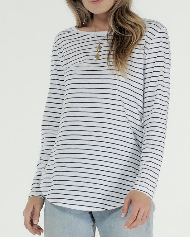 Layla Long Sleeve Tee Shirt White Indigo Stripe
