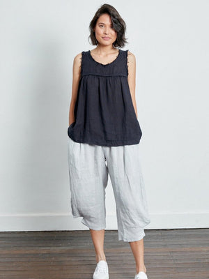 Frayed Singlet Linen Top (French Navy)