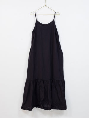 Longline Linen Maxi Dress with Frayed Edge (French Navy)