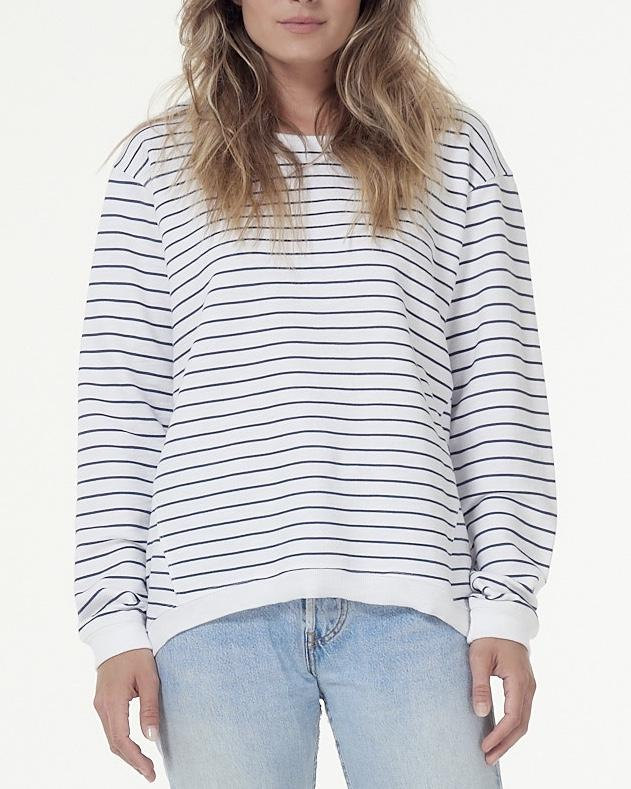The Lucy Sweater in White Indigo Stripe