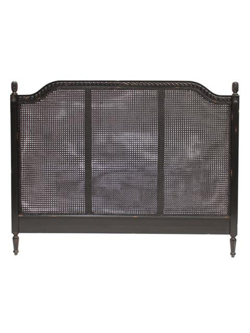 Marseille Rattan Headboard in Gloss Distressed Black