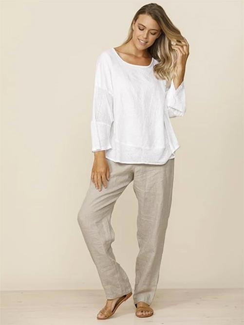 Mentana Linen Top (Indigo or White)