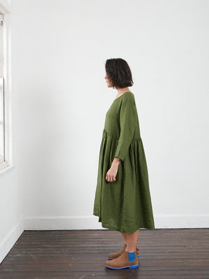 Journee Loose Fit Linen Dress (Acid Green)