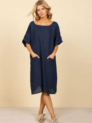Morico Linen Dress (Indigo)