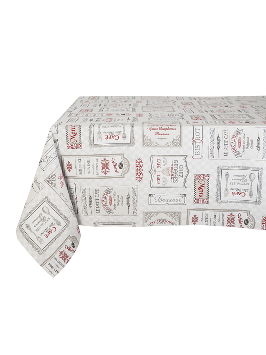 Chez Georges Jacquard French Tablecloth 160x250cm - Red and Grey
