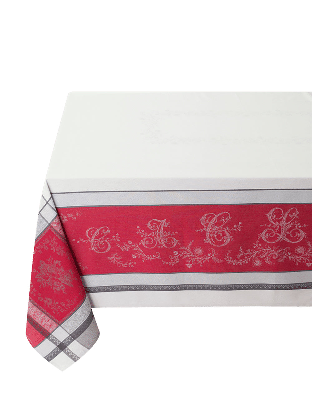 Jacquard Coated French Cotton Tablecloth 160x350cm - Red