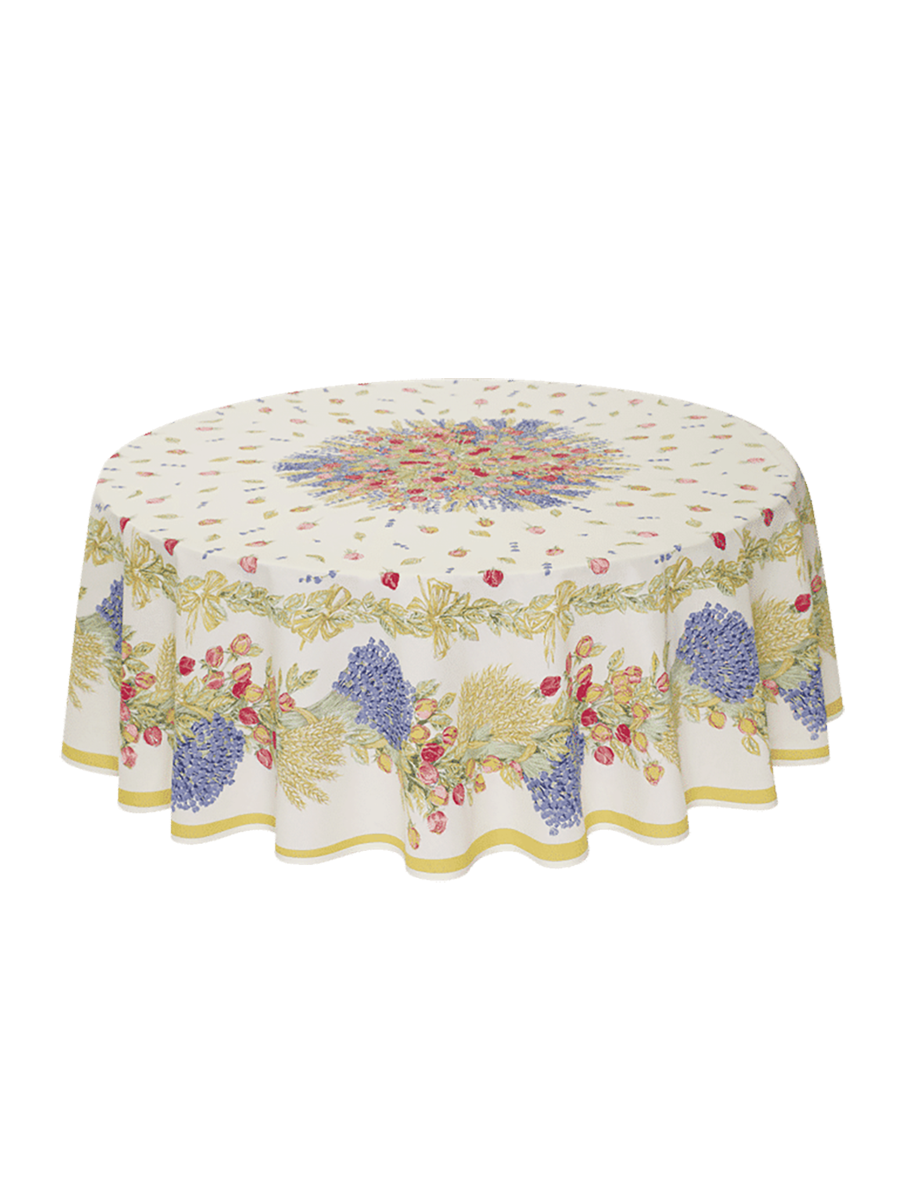 Rose Lavande French Cotton Tablecloth - Round 180cm