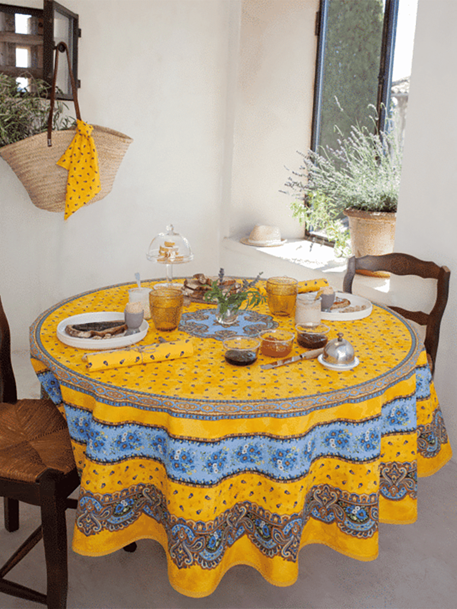 Traditional Round French Cotton Tablecloth 180cm  - Yellow