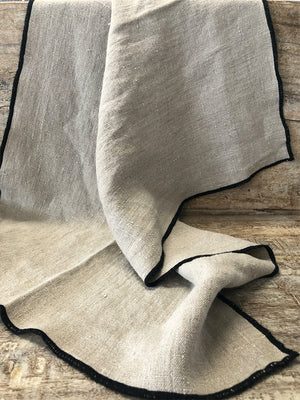 Natural 100% French Linen Tea Towel with Black Edging