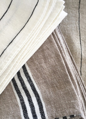 French Linen Tea Towel in Natural Black Stripe