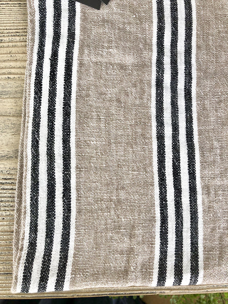 French Linen Tea Towel in Natural Black White Stripe