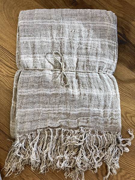 Natural Linen Throw with White Stripe