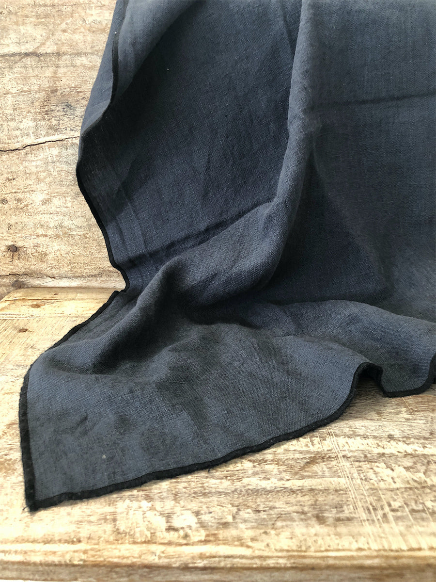 Navy 100% French Linen Tea Towel with black edging