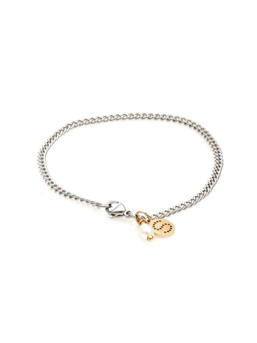 Silk + Steel Perfect Partner Silver & Pearl Bracelet (gold charm)