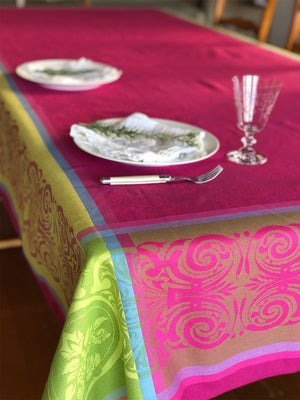 Renaissance Jacquard Coated French Cotton Tablecloth 260x300cm - Pink