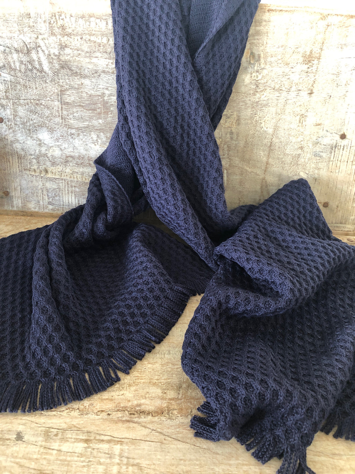 Sophie French Wool Knit Navy Scarf
