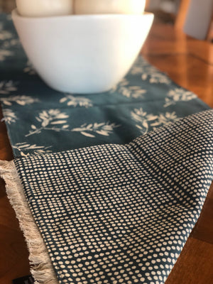 Reversible Cotton Table Runner - Teal
