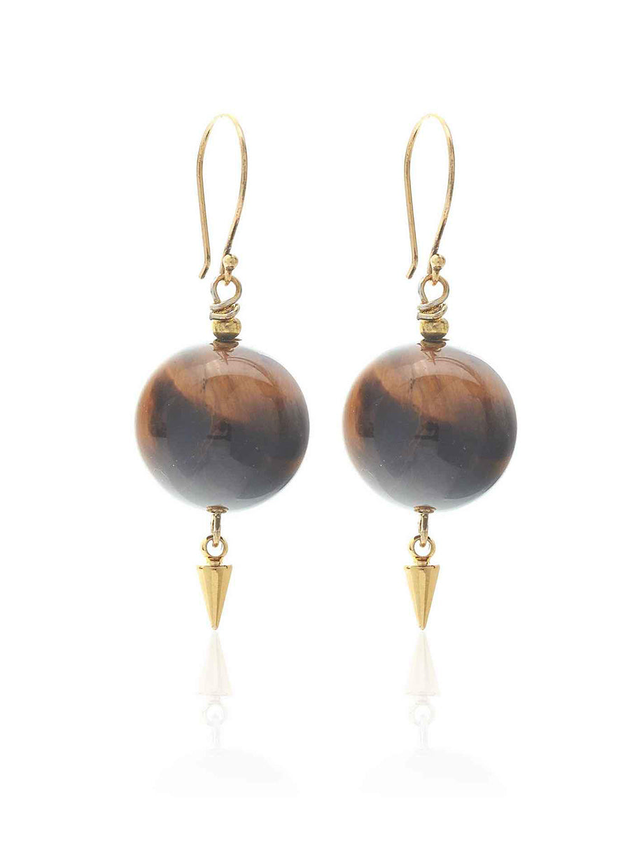 Silk + Steel Savage Gold and Tigers Eye Earrings