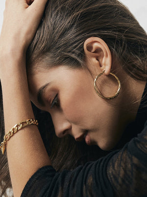 Silk + Steel Get Twisted Gold Hoop Earrings