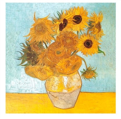 Van Gogh Sunflowers French Cotton Pillow Cover
