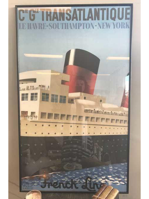 Vintage French Cruise Line Transatlantic Cruise Art Print Ready to Hang