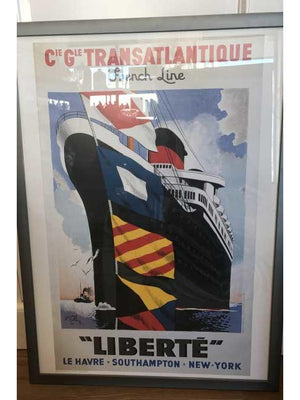 "Vintage French Cruise Line ""Liberte"" Transatlantic Cruise Art Print Ready to Hang"