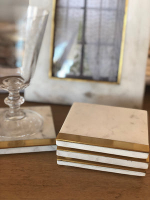 Square Marble Coasters Set of 4 - White with brass strip