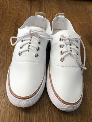 White Vegan Leather Sneakers