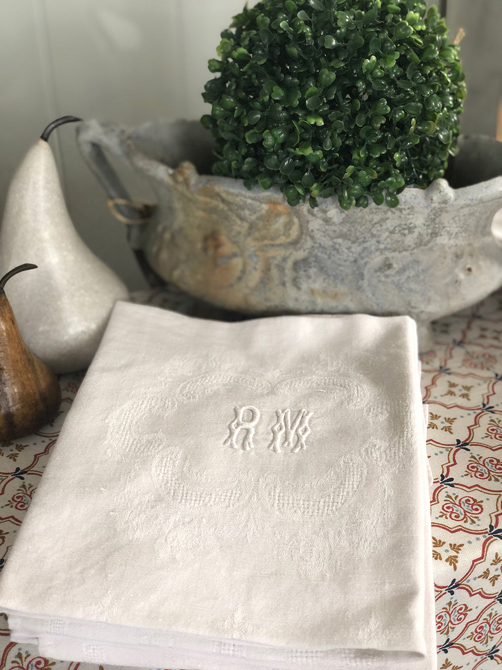Vintage French Cotton Embroidered Napkins (set of 6)