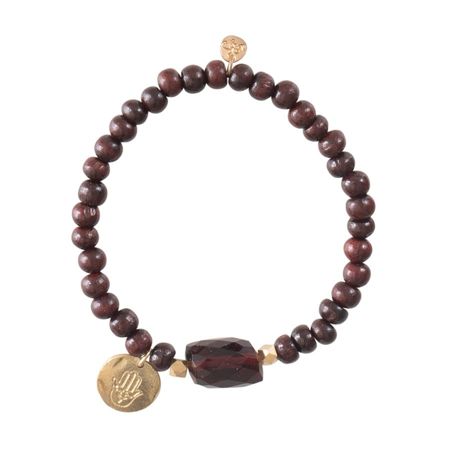 A Beautiful Story Armband 'Namaste Garnet Hamsa Gold'