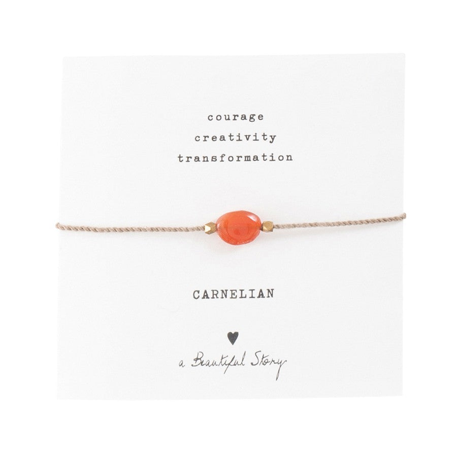 A Beautiful Story Edelstein-Karte Armband 'Karneol Gold'