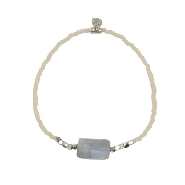 A Beautiful Story Armband  'Joy Blue Lace Agate Silber''