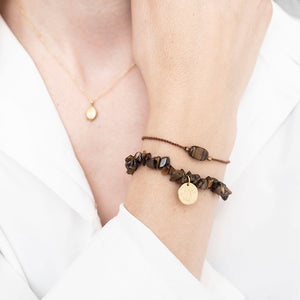 A Beautiful Story Edelstein-Karte Armband 'Tigerauge Gold'