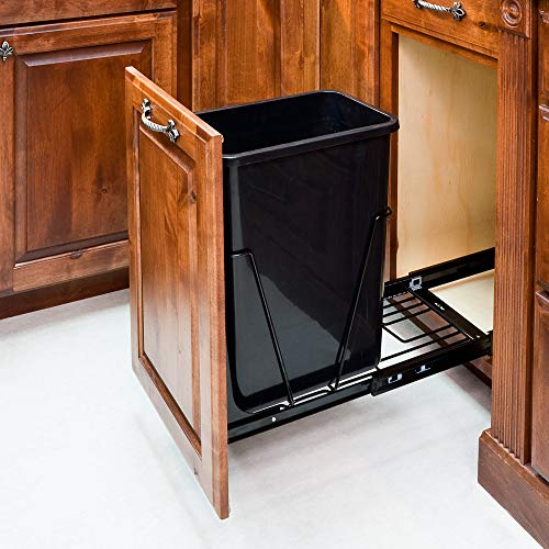 Hardware Resources CAN-EBMSB-R Single Pullout Waste Container System, Black