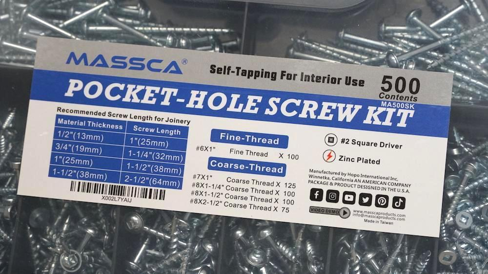 Massca Pocket-Hole Screw Kit 500 Units | Self Tapping Zinc Plated Screws Perfect for Interior Use and DIY Woodworking Projects and includes fine thread screws and coarse thread screws