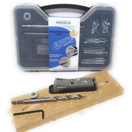 Massca Single Hole Pocket Jig Set Box | Adjustable & Easy to Use Joinery Woodworking Tool w/Drill Bit, Screws, Square Driver Hex Key & Stop Collar