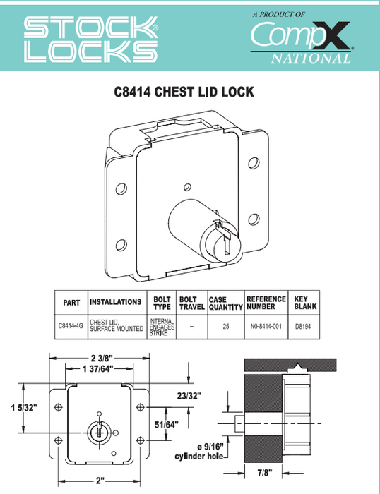 Cedar Chest Lock with key