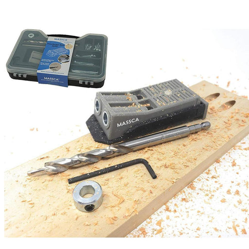 Massca Twin Pocket Hole Jig Set Box | Adjustable & Easy to Use Joinery Woodworking Tool w/Drill Bit, Hex Key, Screws, Square Driver & Stop Collar