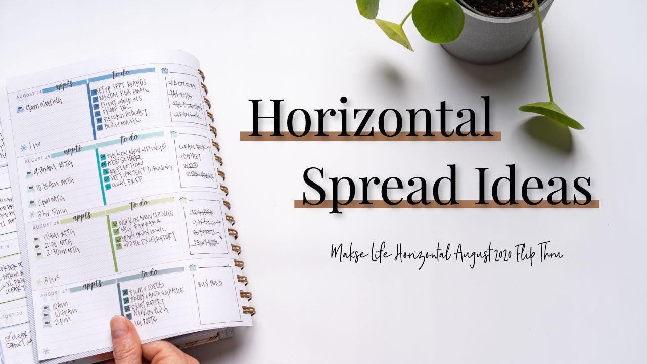 August 2020 Planner Spread Flip Thru | Makse Life Horizontal