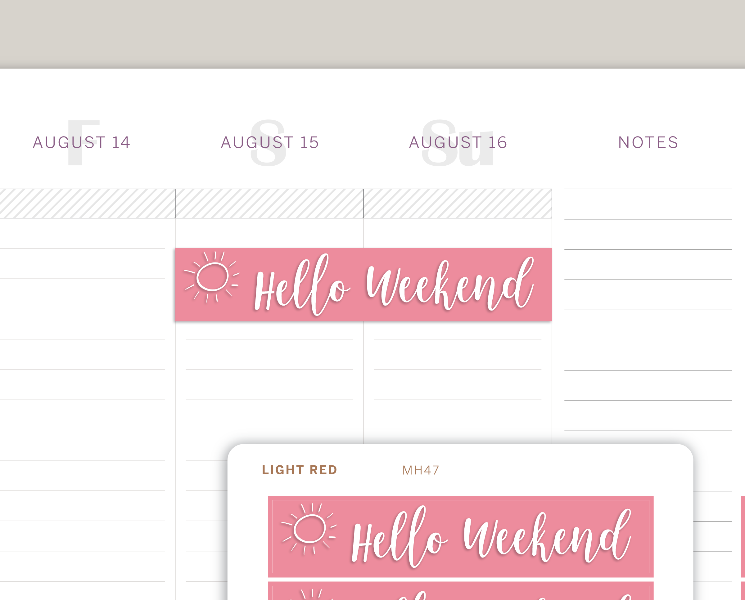 Hello Weekend Header Stickers for Makse Life Planner MH47