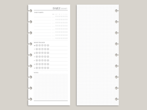 Daily Docket PRINTED Planner Inserts BW8