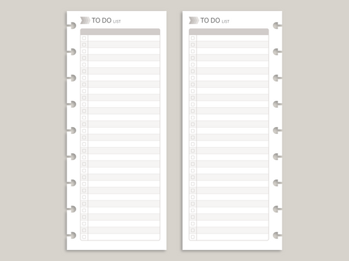 Vertical Checklist Greyscale PRINTED Planner Inserts for 2020 inkWELL Press Planners IWP-FI5