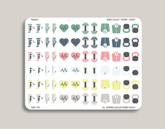 Fitness & Health Icon Sampler Planner Stickers for 2019 inkWELL Press IWP-T15