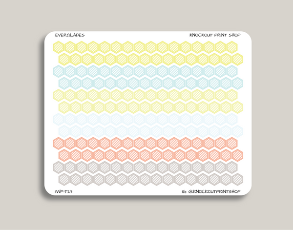Striped Mini Hexagons Stickers for 2019 inkWELL Press Planners IWP-T23