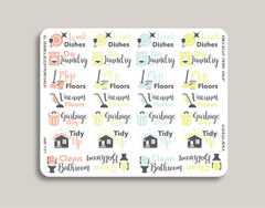 Cleaning Sampler Planner Stickers for 2019 inkWELL Press Planners IWP-T37