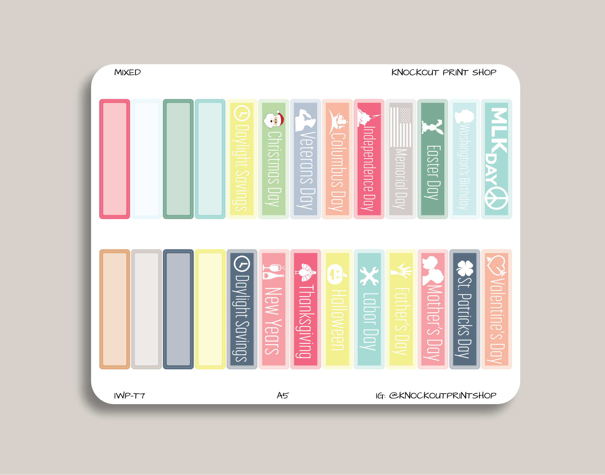 2019 Federal Holiday & Notable Dates Monthly Planner Stickers for 2019 inkWELL Press Planners IWP-T7