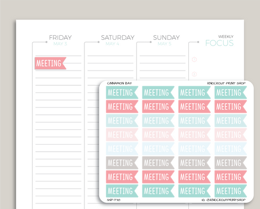 Meeting Flag Planner Sticker for 2019 inkWELL Press Planners IWP-T38