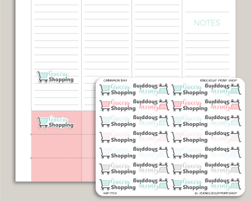 Grocery Shopping Icon Planner Stickers for 2019 inkWELL Press Planners IWP-T58