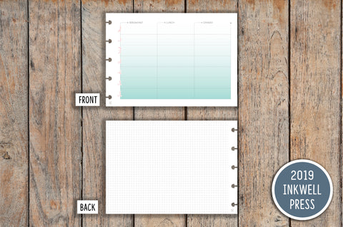 Weekly Meal Planner, Menu Planner PRINTED Planner Inserts for 2019 inkWELL Press Planners IWP-I12