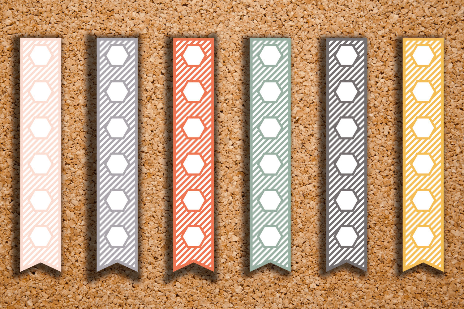 48 Striped A5 Flex Hexagon Checkbox Flags | To do Lists, Dividers Stickers for 2017 Inkwell Press IWP-HS8